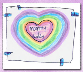 A drawing of hearts with Mommy + Daddy in the middle :)
